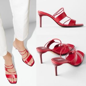 Zara LEATHER STRAPPY HIGH-HEEL SANDALS RED COLOR